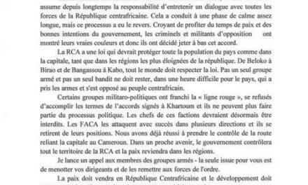 Les autorités centrafricaines semblent décidées à reprendre le contrôle de toutes les parties du pays des mains des groupes armés