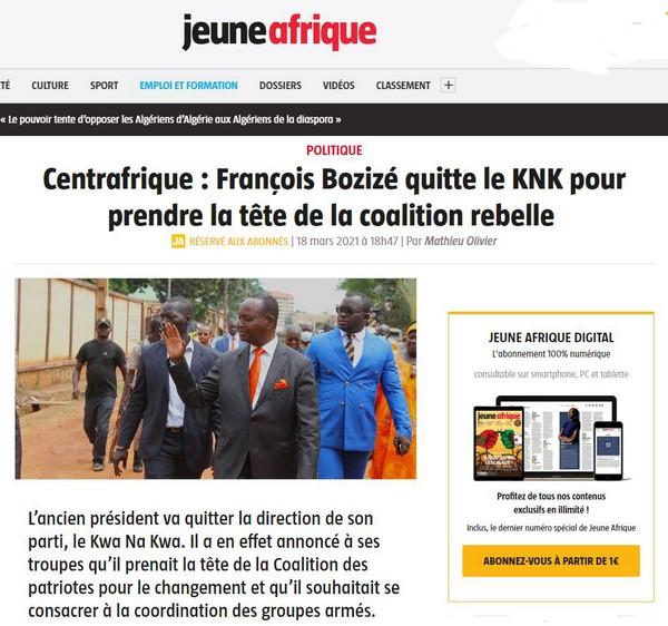 Quand Jeune Afrique fait la promotion de l'ex-général Bozizé, un criminel putschiste !