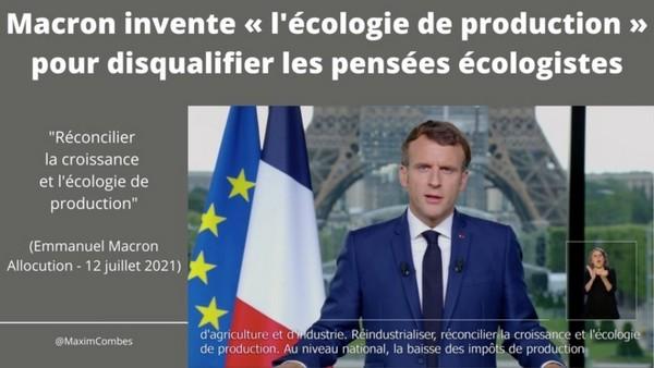 Macron invente « l'écologie de production » pour disqualifier les pensées écologistes